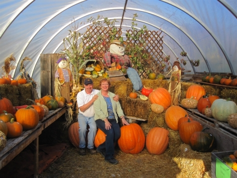Randy & Mary Lynne in the pumpkin house.